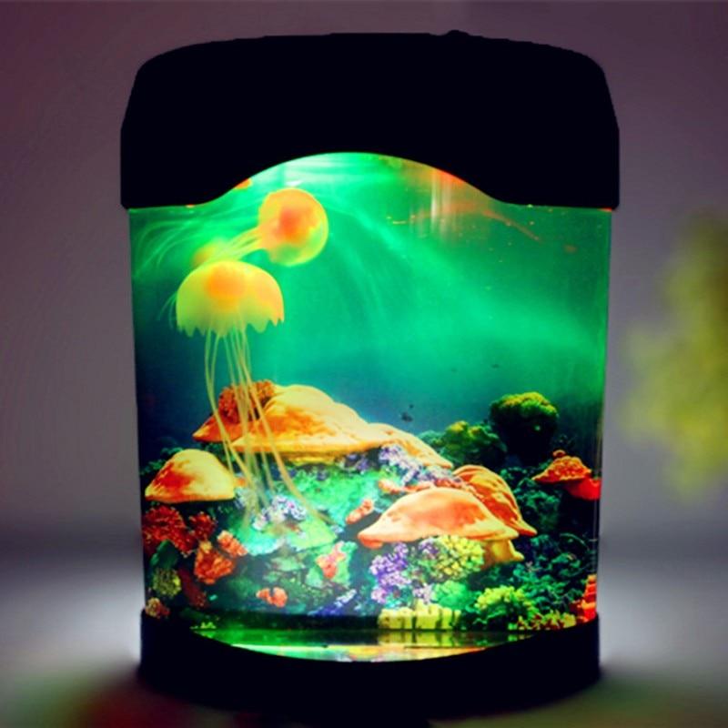 LED Creative Simulation Jellyfish Aquarium Night Light Home Decoration Children's Room Table Lamp Gift USB / Battery Powered