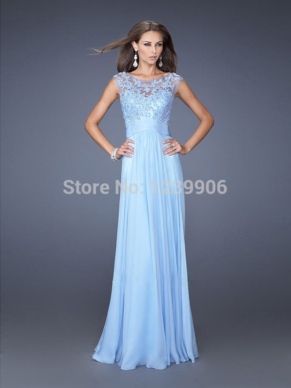Aliexpress.com : Buy A line Sleeveless Chiffon Long ice Blue Lace ...