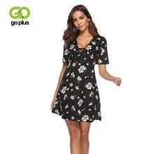 GOPLUS 2019 Floral Print Boho Chiffon Dresses Women Sexy Bow tie V Neck Mini Dress Ladies Summer Elegant Beach Vestidos Female