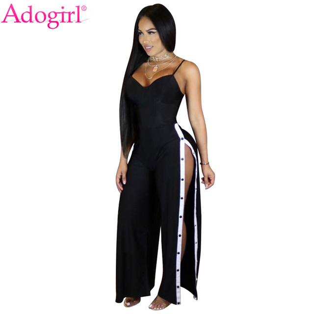 2640e852934f Adogirl 2018 Summer Side Slit Buttons Up Loose Jumpsuits Women Sexy V Neck  Spaghetti Straps Rompers Wide Leg Pants Club Overalls