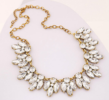 New SBY0322 Fashion woven Chokers chunky big statement gold chain beaded necklaces