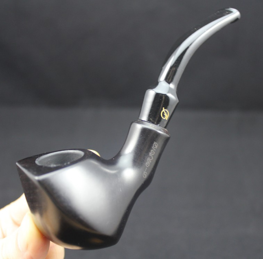 Handmade Ebony Wood Bent Type Smoking Pipe Round 1