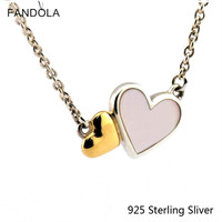 2016 Necklace Authentic S925 Sterling Silver Two Relying Heart Charm Necklace Pendant Silver Necklaces For Women