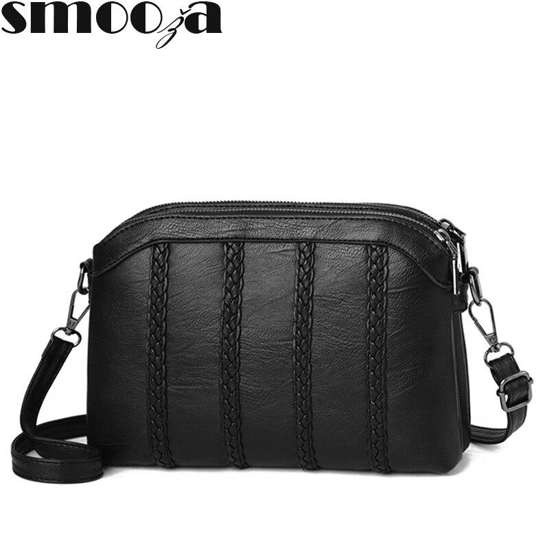 SMOOZA Women's Famous Brand Handbags 2018 Women's Retro PU Leather Shoulder Bag Ladies Messenger Bags With Female Crossbody Bag