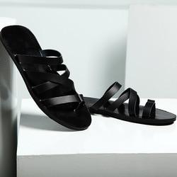 2019 moda verão sandálias de couro dos homens de alta qualidade roman praia sapatos casuais sandálias chinelos homens plus size 36-46