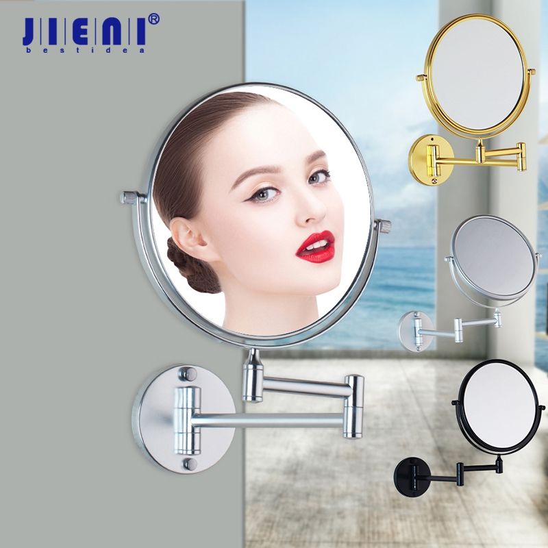 3X Magnifying Beauty Makeup Mirror 8 Wall Mounted Bathroom Toilet Cosmetic Mirror Foldable Double Sided Mirror Design nyx professional makeup двустороннее зеркало dual sided compact mirror 03