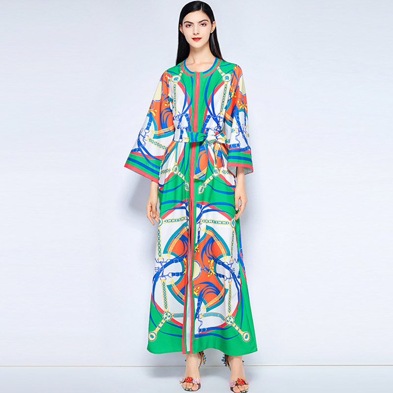 2018 Runway Designer Maxi Dress High Quality Women s Fashion Chain Pattern  Printed Belted Loose Casual Long 9015d52f56c8