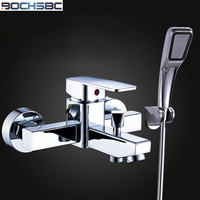 BOCHSBC Copper Wall Shower Set with Water Mixing Valve Bathtub Hot and Cold Water Shower Nozzle Set Chrome Plated