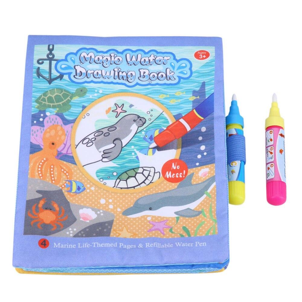 US $2 59 OFF Sihir Air Menggambar Buku Mewarnai Buku Gambar Mainan Doodle Hewan Laut Peternakan Kain Lukisan Papan Untuk Anak Anak