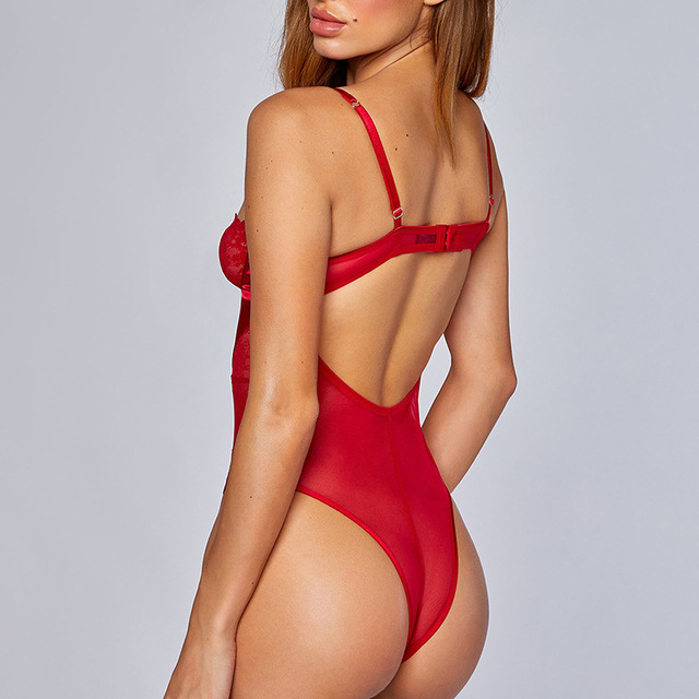 Cryptographic Red Strappy Lace Up Bodysuit Sexy Backless Jumpsuit Female Body Mesh Sheer Lace Cut-Out Teddy Push Up Bodysuits 4