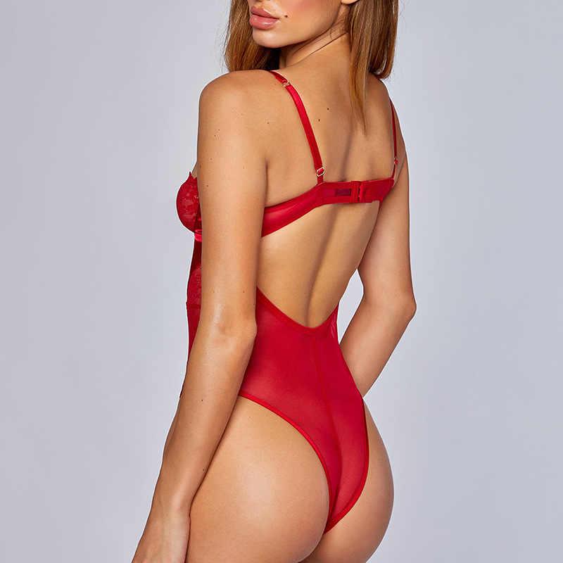 Kryptograficzny czerwony Strappy body wiązane seksowny kombinezon bez pleców kobiece ciało siatka przezroczysta koronka wycięcie Teddy Push Up body