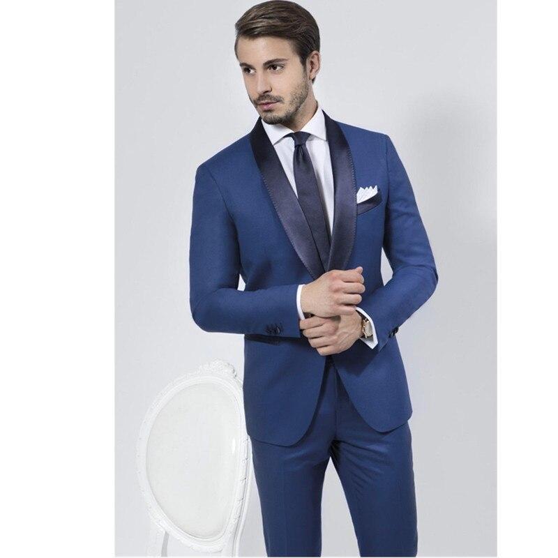 Custom Made Blue Groom Suit Men Slim Fit Tuxedos Wedding Suits Business Suits (jacket + pants )