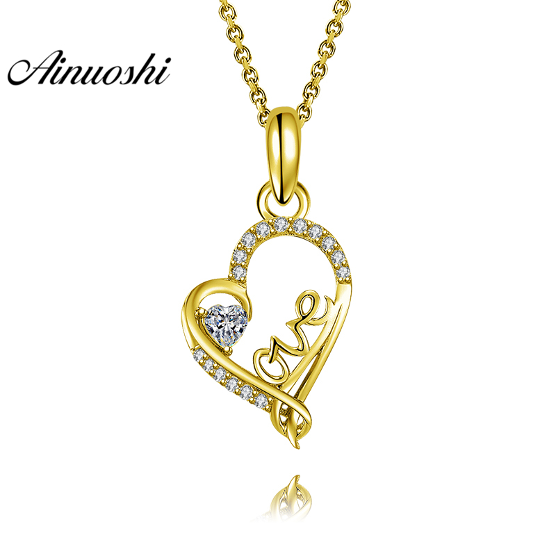 AINUOSHI 10K Solid Yellow Gold Pendant Heart Pendant SONA Diamond Women Men Lovers Jewelry LOVE Letters 2.1g Separate PendantAINUOSHI 10K Solid Yellow Gold Pendant Heart Pendant SONA Diamond Women Men Lovers Jewelry LOVE Letters 2.1g Separate Pendant