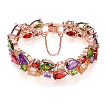 Colorful Rose Zircon Gold Bracelet For Women Sparkling Hand Jewelry Bangles Fashion Gift