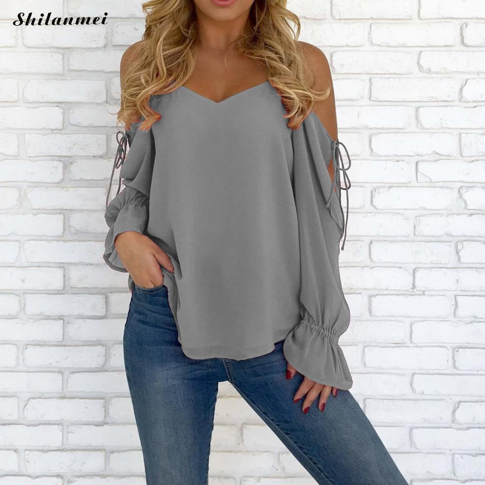 Chiffon Blouse 2018 Women Off Shoulder Tops Long Sleeve V Neck Work Wear Shirts Elegant Lady Blouses Casual Solid Color Blusas