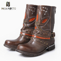 Prova Perfetto Black Brown Genuine Leather Women Martin Boots Female Winter High Boots Mid Calf Platform