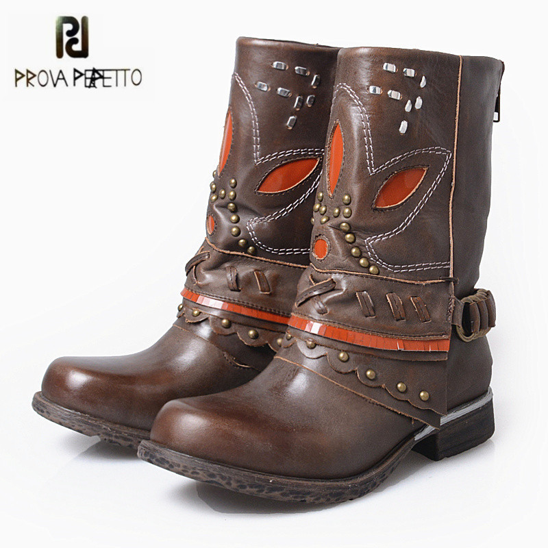 Prova Perfetto Black Brown Genuine Leather Women Martin Boots Female Winter High Boots Mid-Calf Platform Rubber Shoes Woman prova perfetto black handmade women genuine leather mid calf boots buckle straps martin boots women platform rubber shoes woman