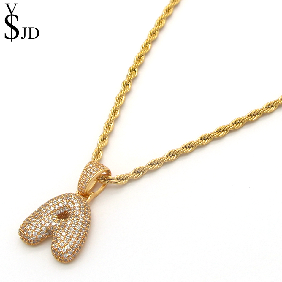 Fashion Bubble Letters Necklaces Pendants Iced out Gold/Silver/RoseGold A-Z Letter Necklace Classic Accessories DIY Jewelry
