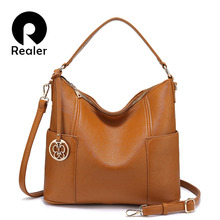 Realer women handbags with top-handle high quality PU leather shoulder bags for ladies large capacity messenger bags cross-body