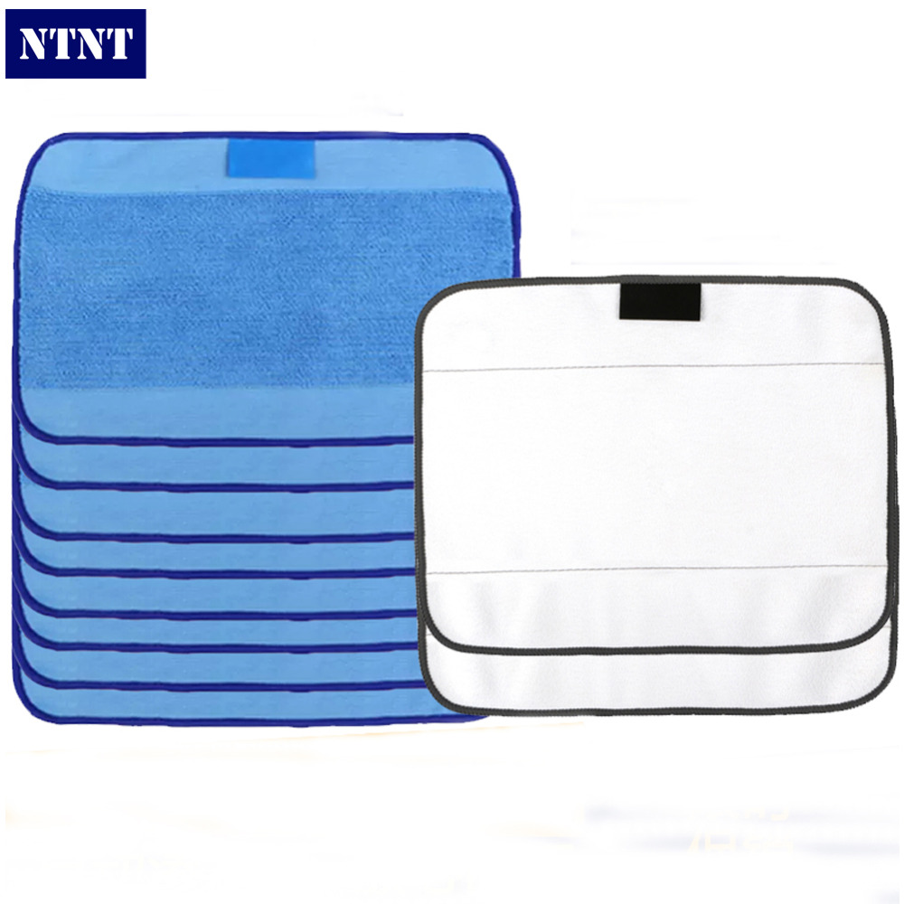 NTNT Microfiber 8pcs Wet and 2pcs Dry Dweeping Pro-Clean Mopping Cloths for Robot irobot Braava Minit 4200 5200 5200C 380 380t seebest d750 turing 1 0 dry and wet mop robot vacuum cleanerwith water tank and gps navigator planned clean route clean robot