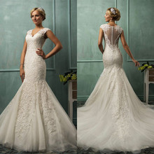 Vestido de casamento applique lace mermaid wedding dresses 2015 bride gowns vestido noiva renda sereia ST6