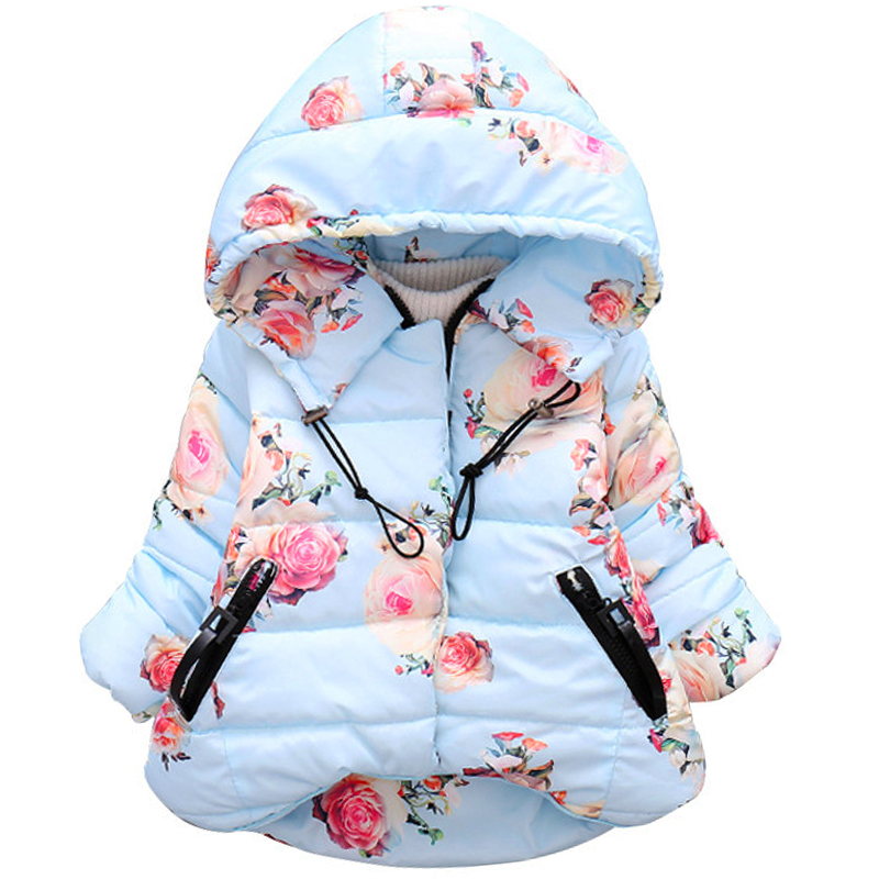 Christmas Baby Girls Winter Thick Flower Hoodies Jacket Coats Infant Kids Outerwear Overall Children Parka Outfits Clothing scratch kids girls outerwear denim jeans jackets for children embroidery flower baby girl coats infant autumn clothing outfits