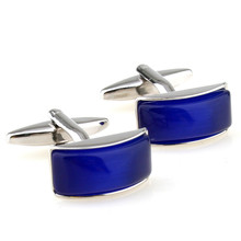Cufflinks Retail Blue curved square cufflinks nail sleeve 157026 free shipping+free gift box