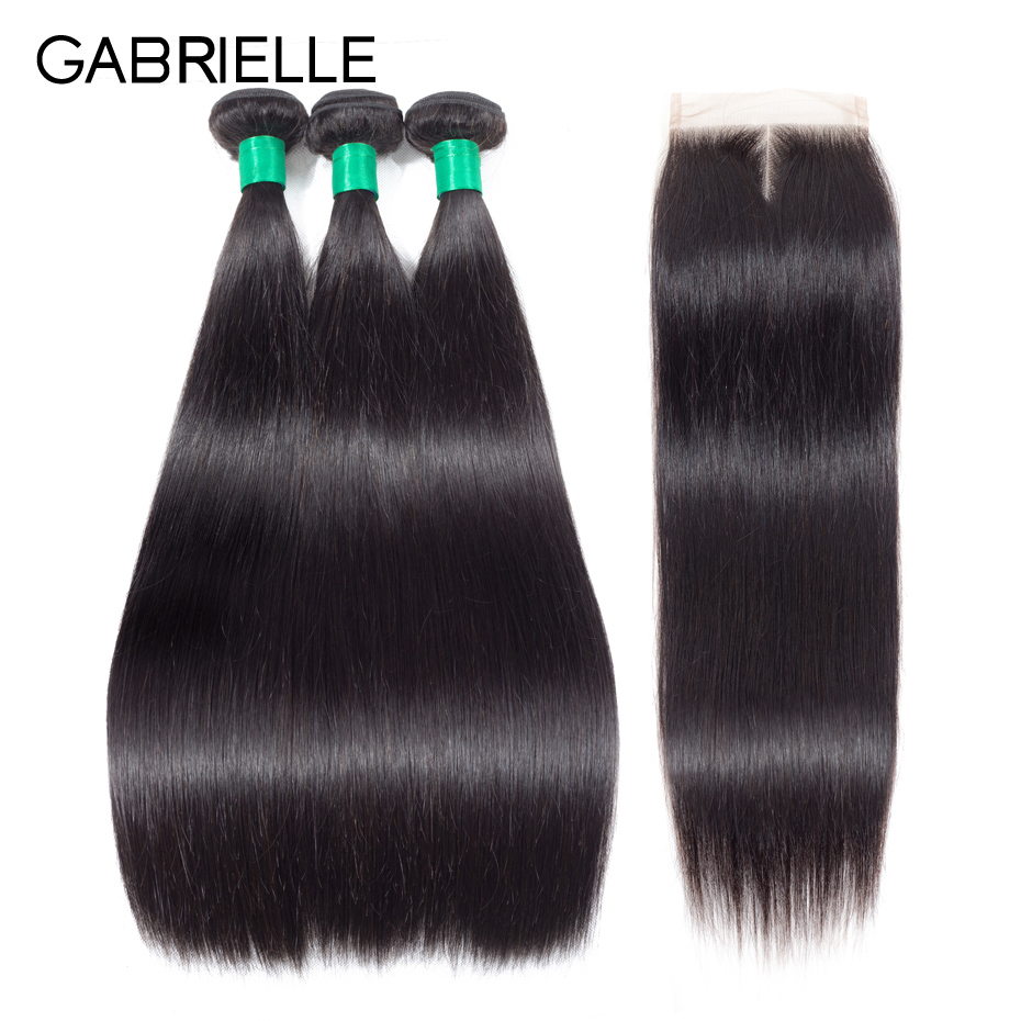 Gabrielle Straight Hair 3 Πακέτα με Κλείσιμο - Ανθρώπινα μαλλιά (για μαύρο) - Φωτογραφία 1