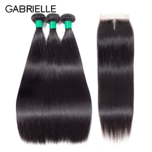 Gabrielle Straight Hair 3 Bundles With Closure Natural Color Brazilian Hair Weave Bundles With Closure 100% Non Remy Human Hair