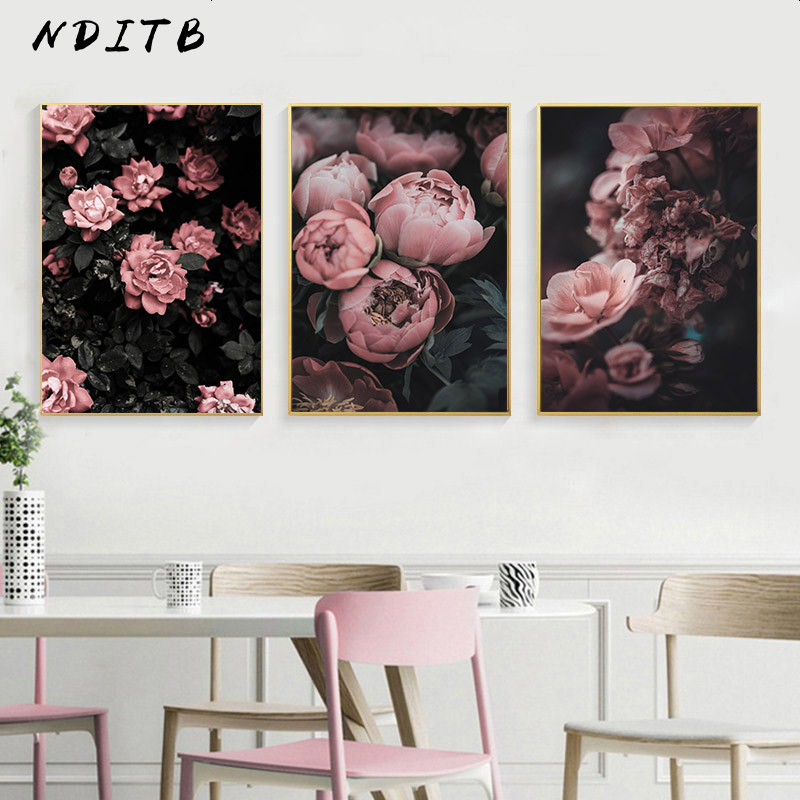Peony Rose Flower Canvas Nordic Poster Botanical Scandinavian Style Print Wall Art Painting Decoration Picture For Living Room