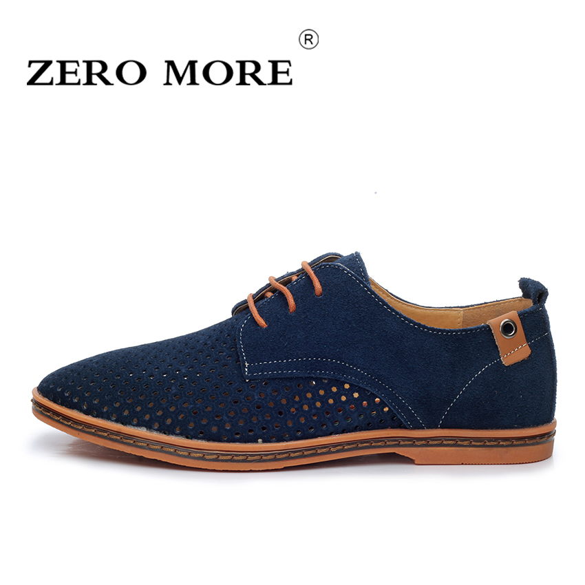 ZERO MORE Summer Men Shoes Breathable Cowskin Suede Leather Men Casual Shoes British Style Men Shoes Big Size EU 38-48 zero more fashion men shoes high quality cow suede leather men casual shoes lace up breathable shoes for men plus size 38 49