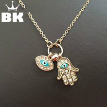 New Fashion Gold Silver Turkey Blue Eye Hamsa Hand Fatima Palm Necklac For Women Jewelry Wholesale Good Luck Chain Necklace(China)
