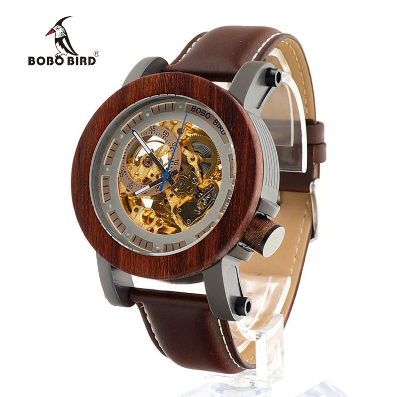 Prix pour Bobobird k12 rouge bois de santal et exposés en acier mécanique montre vintage bronze squelette horloge mâle antique steampunk casual automatique