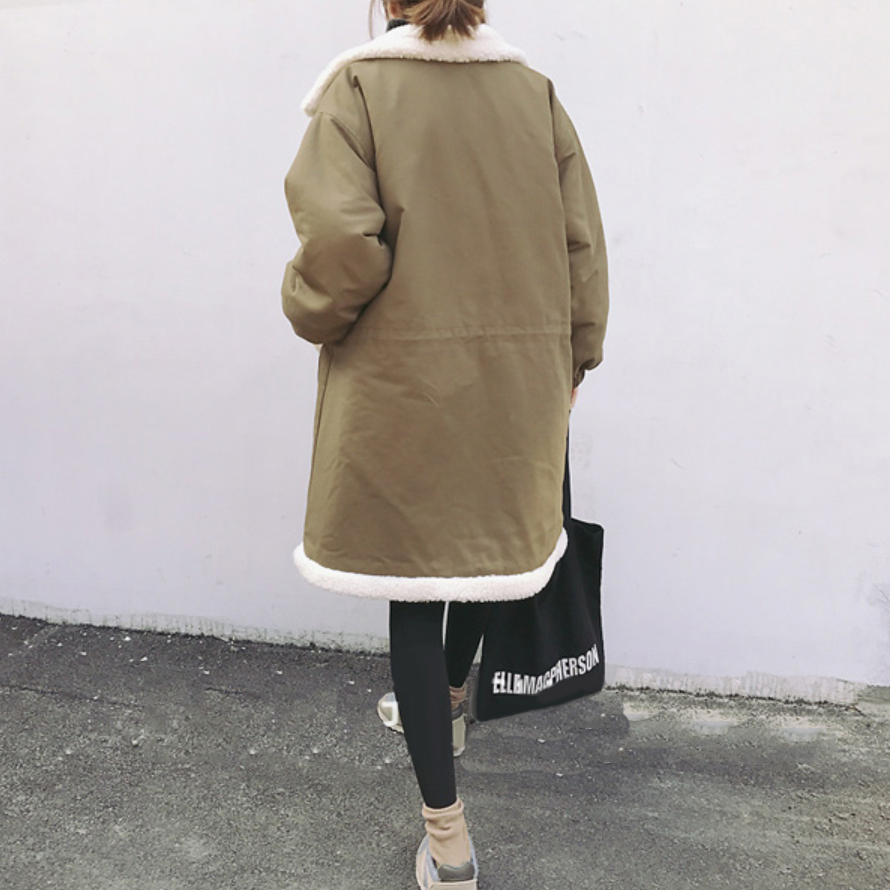 Chaqueta Sueltan Largo Fleece Manga Abrigos Turn Otoño down Invierno Moda Lambwool Mujeres Escudo Caliente Espesar Larga Outwear Collar H6nnxIqwa