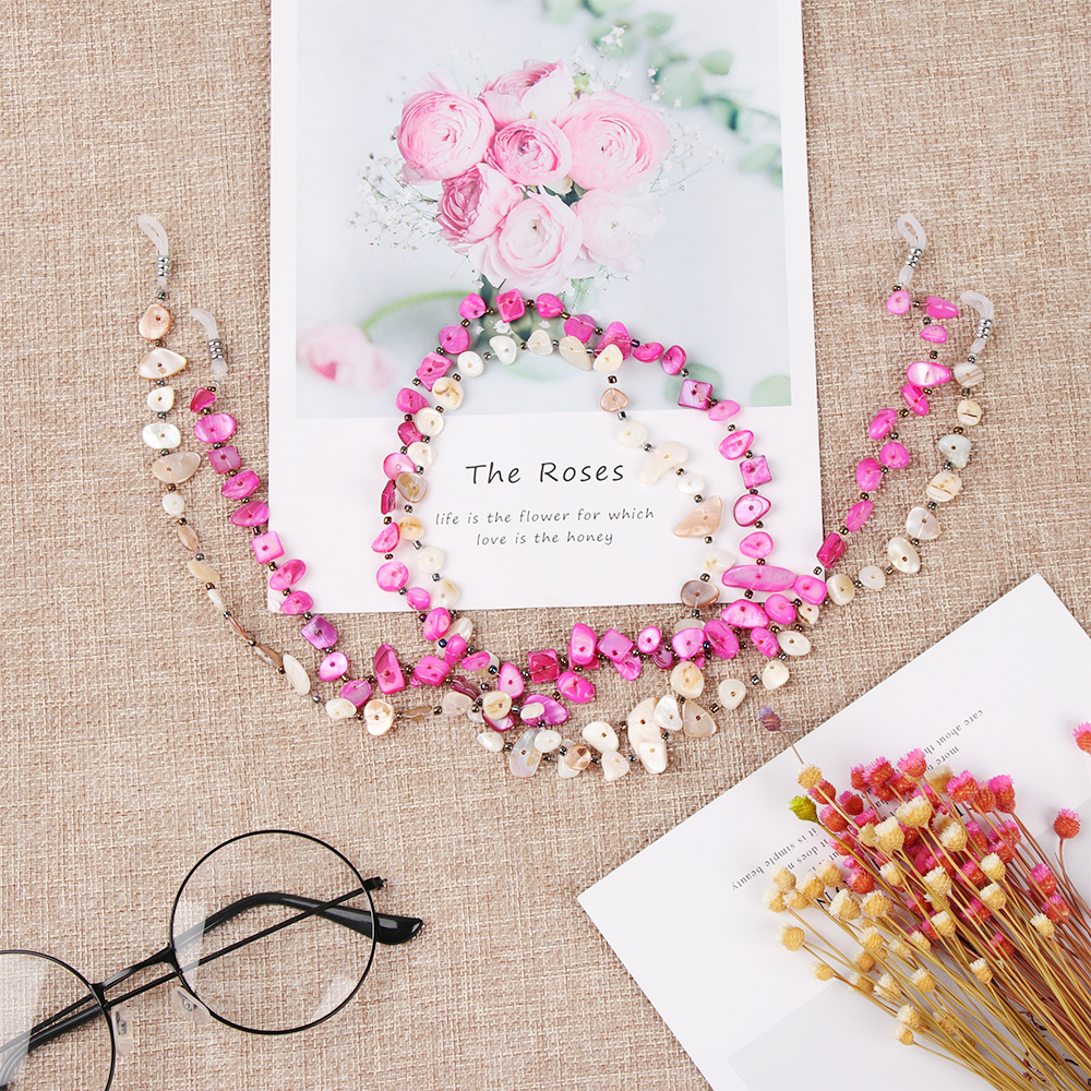 New Fashion 2 Colors Shell Beaded Eyeglass Chains Anti-slip Sunglasses Reading Glasses Chain Glasses Rope Eyewear Accessories