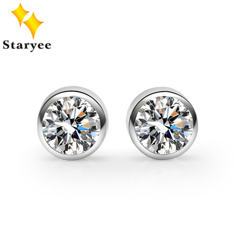 Real Solid 18K White Gold Moissanite Women Stud Earrings For Engagement Round Brilliant Certified 1 CT VVS G H Party Gift цена