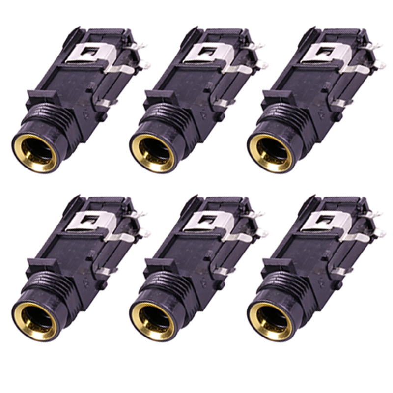 5PCS 6.35mm Male Plug Jack Stereo Audio Socket Cable Adapter Connector DIY Kit