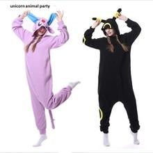 Adult Anime Pokemon Cosplay Costume Black Pikachu Umbreon Onesie Unisex Cartoon Pajamas Party For Female Male