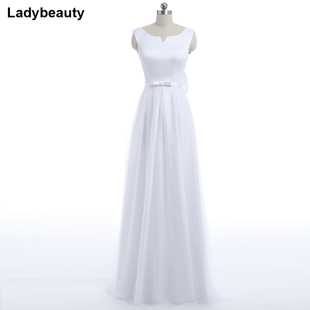 Ladybeauty 2018 New Vintage white   Evening     Dress   Lacing prom   dress   A-line Formal Party   Dresses   Backless   Evening   Gown