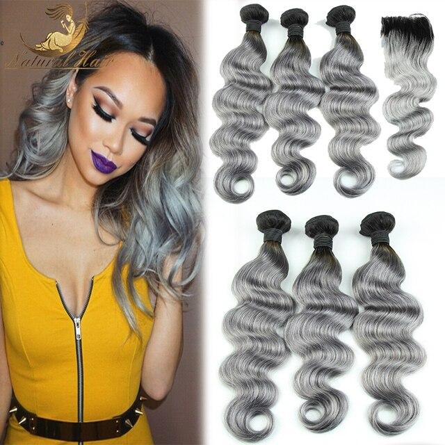 7A Brasileiro 1b do cabelo Humano 5 pcs Cabelo Tecelagem Ombre Cinza/Cinza cabelo humano ombre Cabelo Ombre pacotes com fechamento rendas