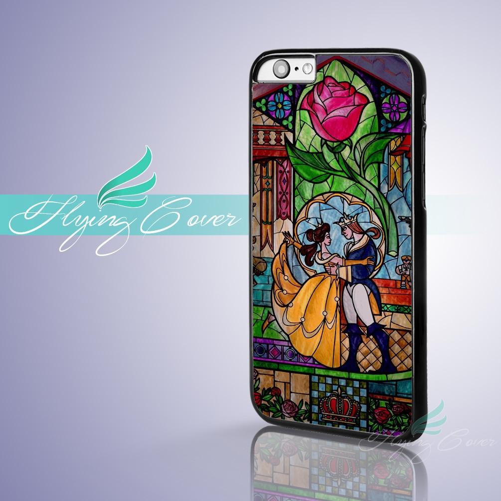 14c4ed42acd Fundas belleza y la Bestia Rose coque Fundas para móviles iPhone x 8 8 más  7 6 6 S 7 más 5S se 5C 5 4S 4 caso para el iPod touch ...