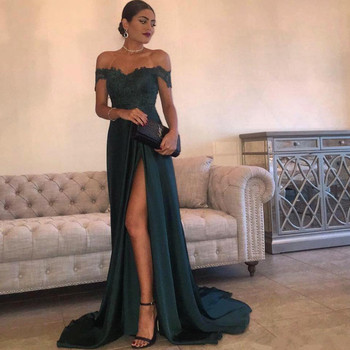 Holievery Off the Shoulder Long Evening Dresses with Lace Appliques 2019 Robe Soiree Split Evening Gowns Zipper Back Avondjurk