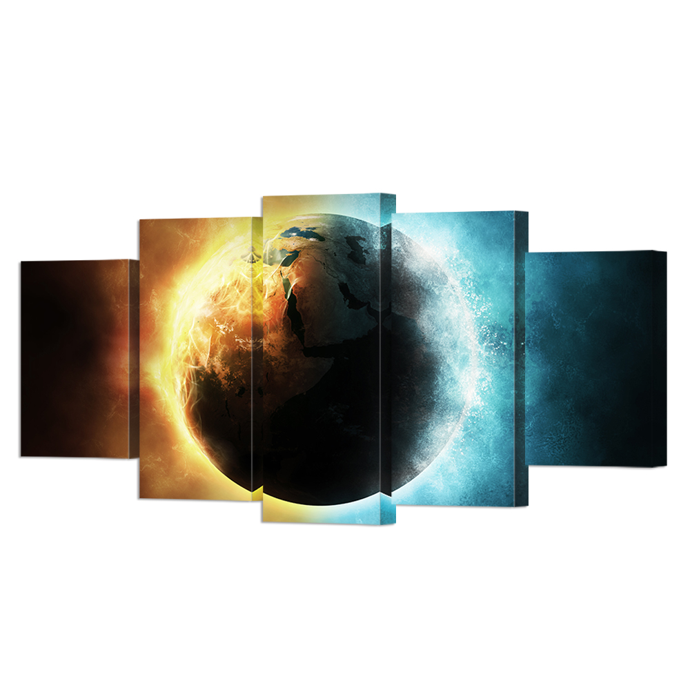 5 Piece Outer Space Planet Painting Canvas Prints Wall Art