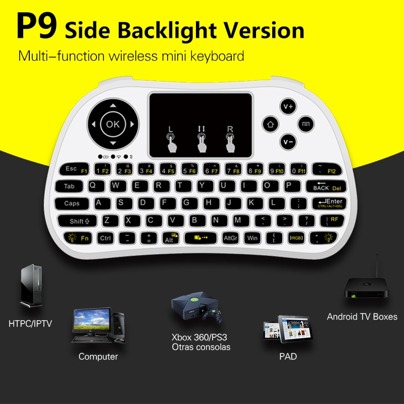 English Backlight Pro Wireless Mini Keyboard Side Backlit Touchpad 2.4GHz USB Air Mouse Remote Control For Android TV Box Laptop