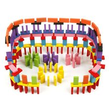 120pcs/set Colored Rainbow Domino Blocks Children Wooden Toys Early Learning Dominoes Games Educational Toys