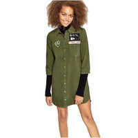 NYMPH 2017 New Casual Women Shirts 3 4 Sleeve Lapel Women S Denim Blouse Army Green