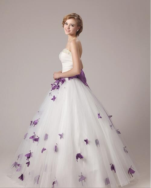 Ball Gown Tulle Purple And White Wedding Dresses Princess