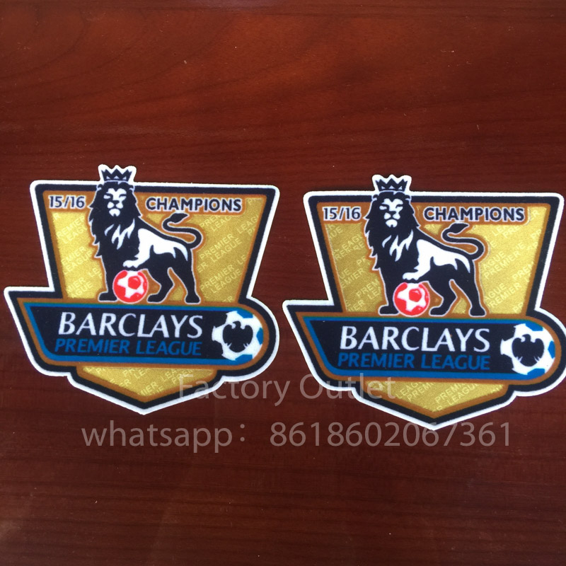 2 pcs a lot Soccer Patch 15 16 EPL goalden champion soccer patch for england Premier League game soccer Badges patch free ship