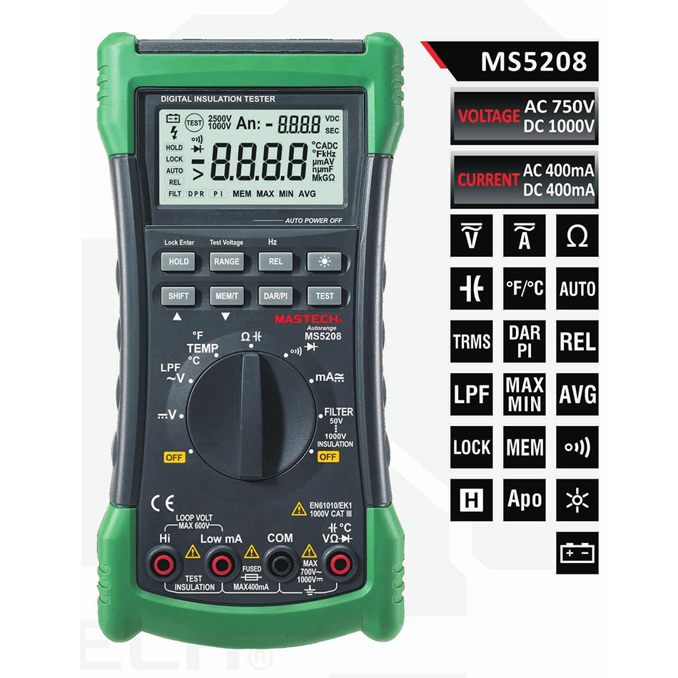 MASTECH MS5208 6600 Counts Digital Multimeter Insulation Tester True RMS AC Voltage Current Temperature Meter mastech ms5208 6600counts digital multimeter true rms ac voltage current temperature tester megger insulation resistance meter