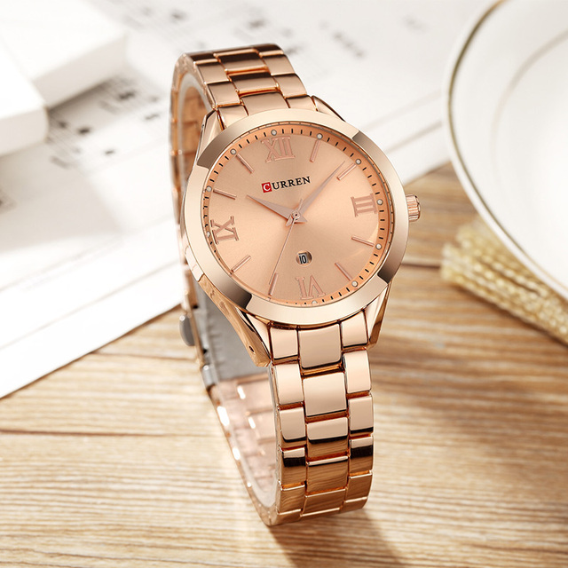 CURREN 2019 Women Watches Top Brand Luxury High Quality Ladies Gold Watches Date Stainless Steel Watches For Women Montre Femme